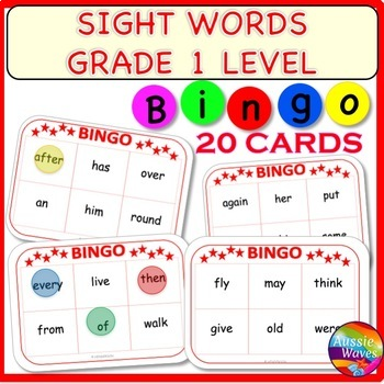 SIGHT WORDS Center Activity BINGO GAME CARDS Level 1 Words