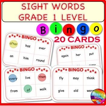 POPULAR SIGHT WORDS LIST BINGO GAME CARDS Grade 1 Words Center Activity