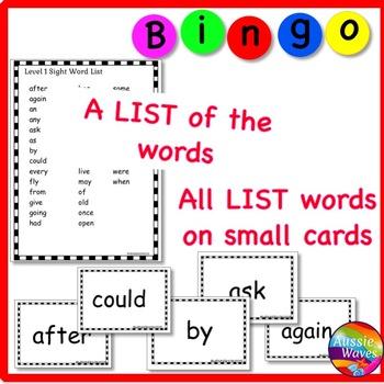 SIGHT WORDS Activity BINGO GAME CARDS Grade 1 Reading Centers