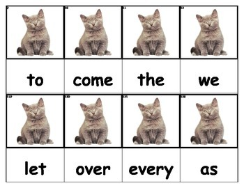 Dolch Words Flashcards - Cat