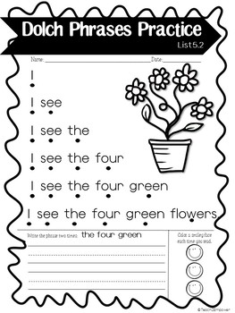 DOLCH PHRASES LIST 5: Pyramid Sentences and Games to Build Fluency