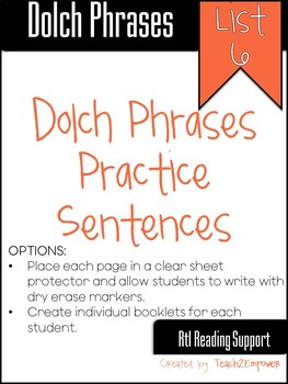 DOLCH PHRASES LIST 6: Pyramid Sentences and Games to Build Fluency