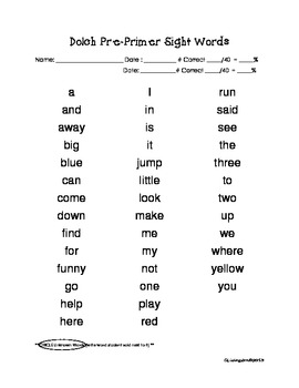 DOLCH Pre-Primer Words and Activities