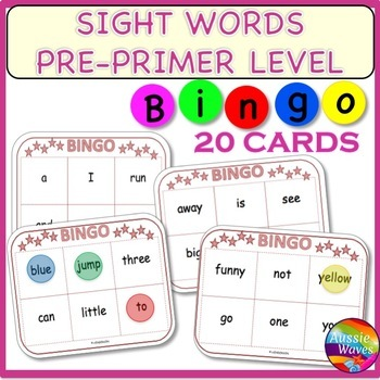 SIGHT WORDS FREE Printable BINGO GAME CARDS  PRE-PRIMER Level Center Activity