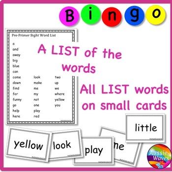 SIGHT WORDS Printable BINGO GAME CARDS  Kinder Level Reading Center Activity