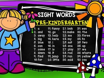 DOLCH SIGHT WORDS FOR PRE-KINDERGARTEN - POSTER