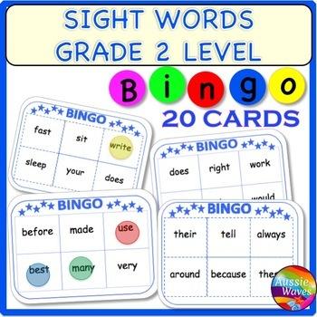 SIGHT WORDS BINGO CARD GAMES Grade 2 Words Printable Center Activity