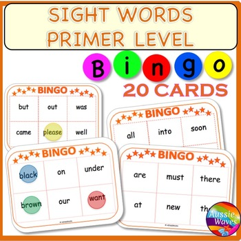 SIGHT WORDS BINGO GAME CARDS PRIMER Level Words Center Activity