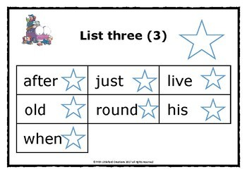 DOLCH Sight words lists Prep / K - 3rd Grade