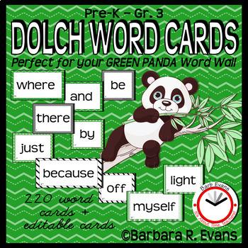 DOLCH WORDS PK - 3 WORD WALL CARDS Green Black Panda Theme Editable
