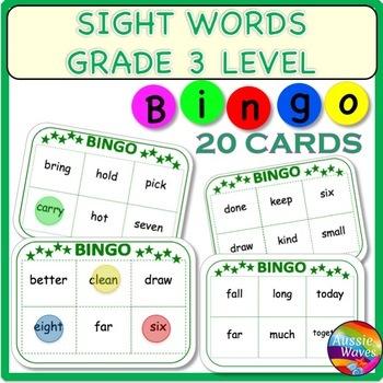 SIGHT WORDS BINGO Game Cards Level 3 Words Center Activity