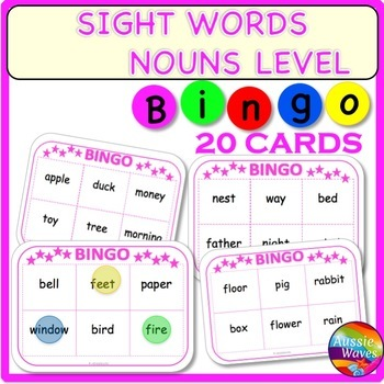 SIGHT WORDS BINGO Game Cards Multi-Level Common Nouns List Center Activity