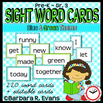 DOLCH WORDS PK - 3 WORD WALL CARDS Blue Green Theme Editable