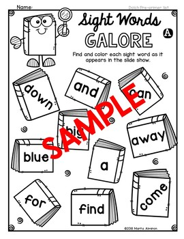 DOLCH Words Galore - {Pre-Primer List}