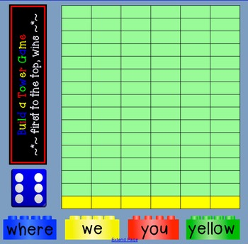 DOLCH pre-primer SIGHT WORDS smartboard BUILDING BLOCK TOWER GAME