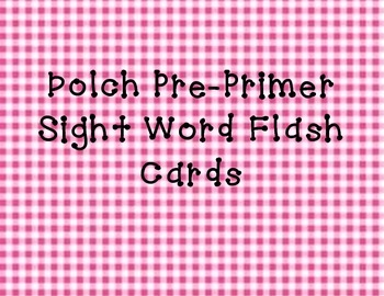 DOLCH pre-primer sight word flash cards