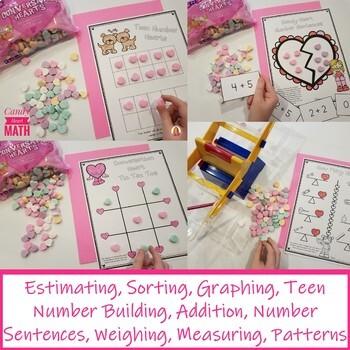 DOLLAR DEAL! 10 Valentine Coversation Hearts Math Activities