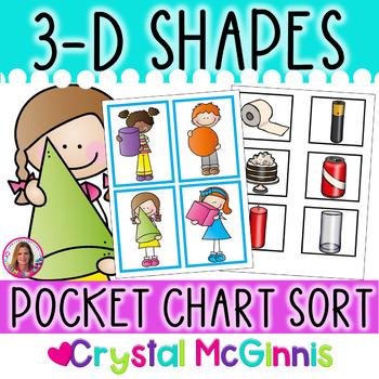 DOLLAR DEAL! 3-D Shapes Pocket Chart Sorting Center (Environmental Shapes)