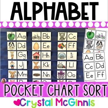 DOLLAR DEAL! Alphabet Pocket Chart Literacy Center (Beginning Sounds)