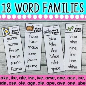 DOLLAR DEAL! CVC-E Word Family Strips (18 CVC-E Long Vowel Word Family Strips)