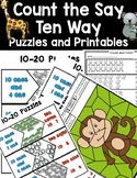 DOLLAR DEAL! Count The Say Ten Way Puzzles Math Center Printables Teen Numbers