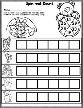 DOLLAR DEAL! Count by Ones Across Tens 1-40 Worksheets and Math Centers