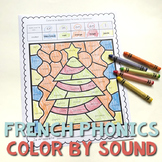 French Christmas Worksheets Color by Sound | Noël français | French Phonics