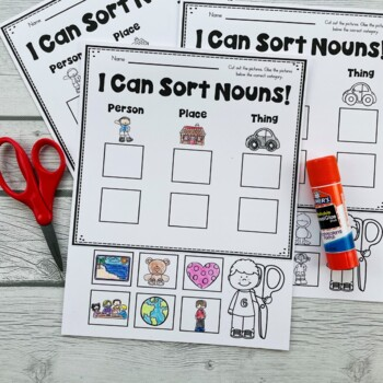 DOLLAR DEAL! NOUNS Pocket Chart Sorting Center (people, places, & things)