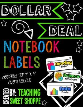 {DOLLAR DEAL}  Notebook & Folder Labels