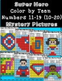 DOLLAR DEAL! Teen Number Practice Super Hero Mystery Pictures Color by Code