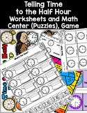 DOLLAR DEAL Telling Time to the Half Hour Worksheets Bump Game Math Center