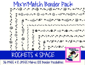 Mix'n'Match Border Set -Rockets/Space (44 Files/128 Border Combos)