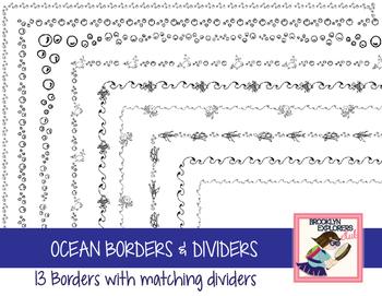 Ocean, Fish and Octopus Border & Divider Set (56 Files)