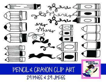 Pencil & Crayon Clip Art (58 Files)