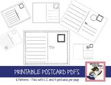 Printable Postcard Sets (1, 2, and 4 per page)