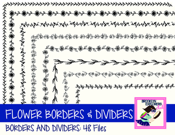 DOLLAR SALE: Skinny Flower Borders and Dividers (48 Files)