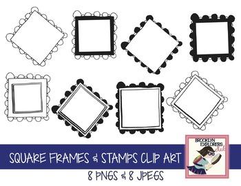 Square Stamps & Frame Clip Art