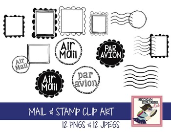 Stamp, Postage & Mail Clip Art (24 Files)
