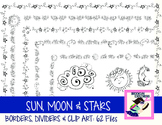 DOLLAR SALE: Sun, Moon and Stars Borders, Dividers & Clip Art (62 Files)