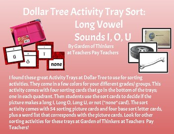 DOLLAR TREE ACTIVITY TRAY SORTING: LONG VOWELS I, O, U