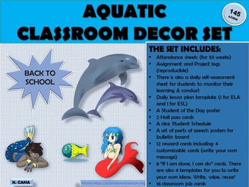 CLASSROOM DECOR SET & CLASSROOM FORMS:DOLPHIN AND MERMAID (WATER/AQUATIC) THEME