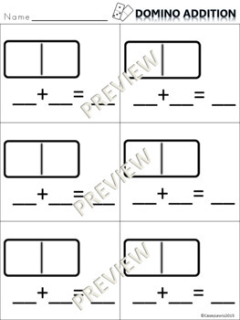 Domino Addition DOLLAR DEAL - 2 Templates Kindergarten 1st Math