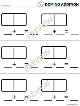 Domino Addition Math Center - 2 Templates Kindergarten 1st Math
