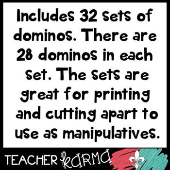 DOMINO SETS Clipart * Math Manipulatives
