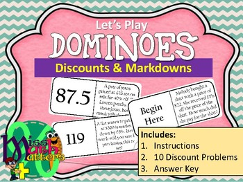 DOMINOES | Percent Applications: Discounts and Markdowns
