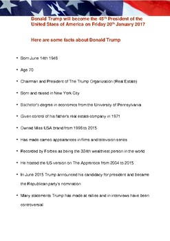 DONALD TRUMP - Facts and Worksheet