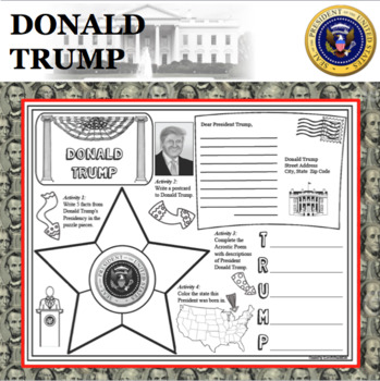 DONALD TRUMP POSTER U.S. President Research Project Biography