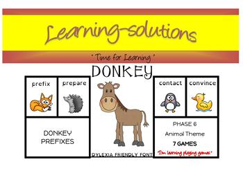 DONKEY CARD GAME BUNDLE - 24 GAMES - Prefixes, Suffixes, Opposites, Contractions