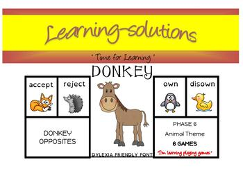 DONKEY OPPOSITES - 6 CARD GAMES - includes PREFIXES that m