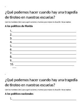 DONATION: Mandatos stations activity.  School shootings Realidades 3 3 Parkland